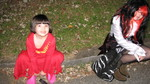 zoe & olive waiting to start trick-or-treating
