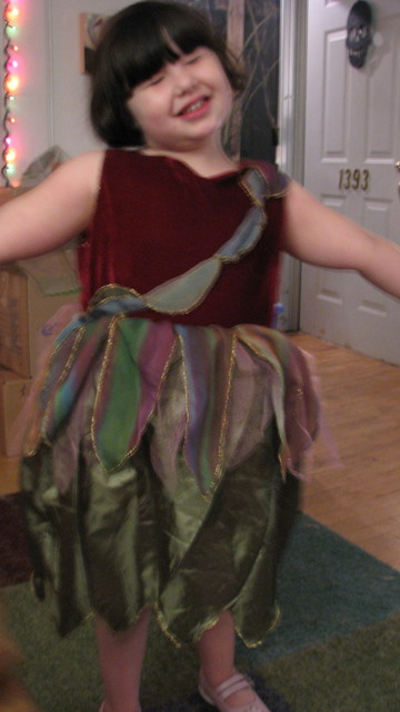 olive went trick or treating as a forest fairy
