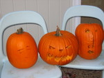 The final products: Stella's, Mommy's & Daddy's pumpkins