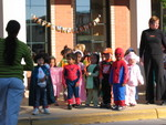 Stella with her class in the Halloween parade